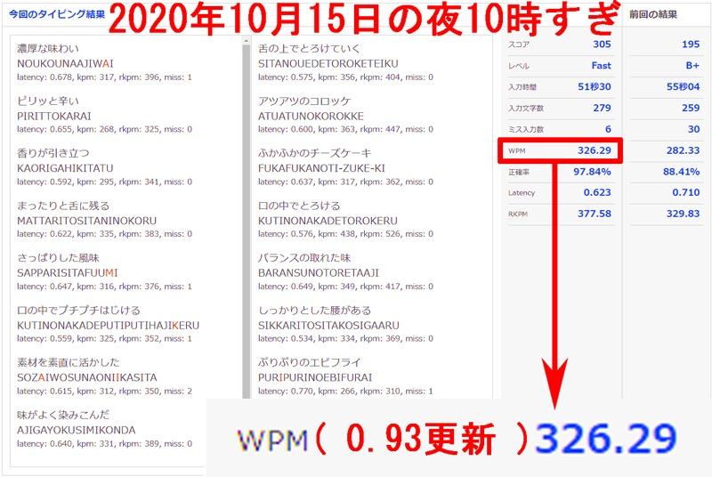 e-typingWPM値326.29へ